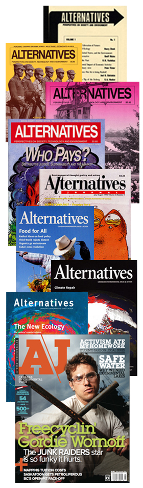 Alternatives Journal covers from 1971 to 2012