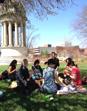 A\J staff enjoying a picnic lunch in nearby Victoria Park.