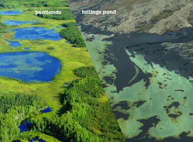 Peatlands contrasted with tailings ponds. A\J AlternativesJournal.ca