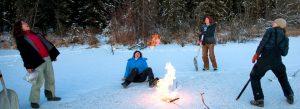 Flaming methane gas. Photo courtesy of Todd Paris
