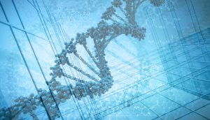 Graphic of DNA. Industrial background. A\J AlternativesJournal.ca