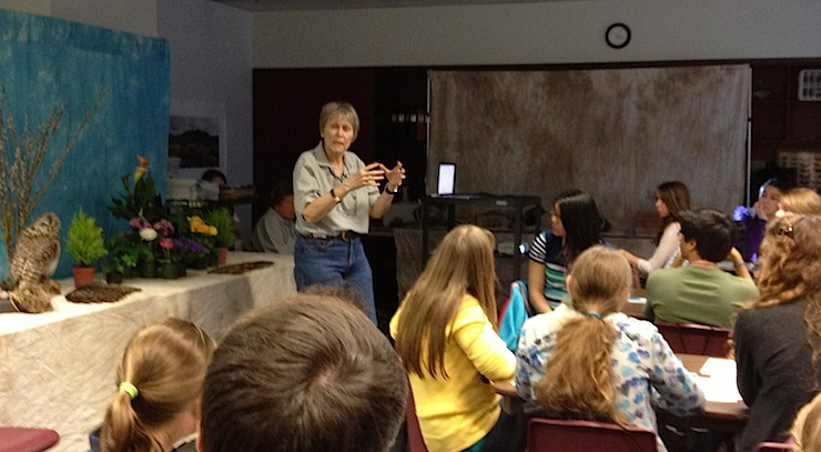 Roberta Bondar addressing students at the EcoMentors Earth Month Youth Forum.