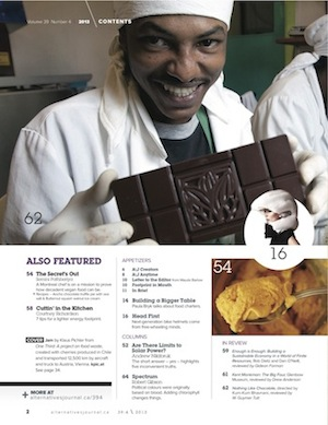 A\J Food & Drink issue table of contents page 2 chocolate