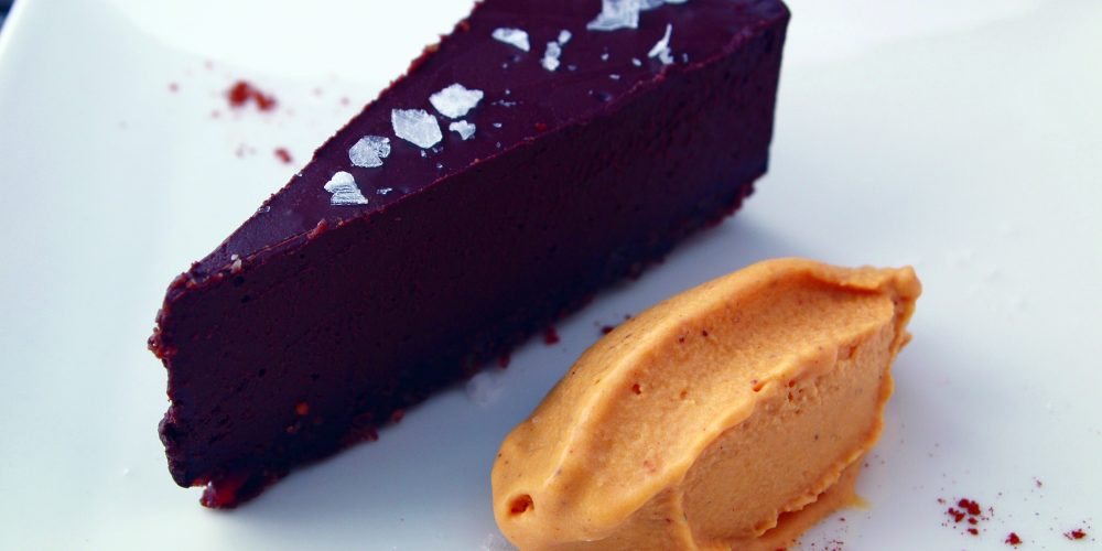 Vegan ancho chocolate truffle pie & butternut squash walnut ice cream A\J