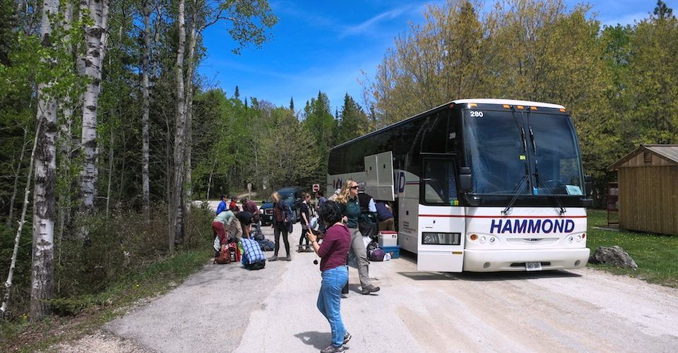 ParkBus unloading at Cyprus Lake Campground. Alternatives Journal. A\J.