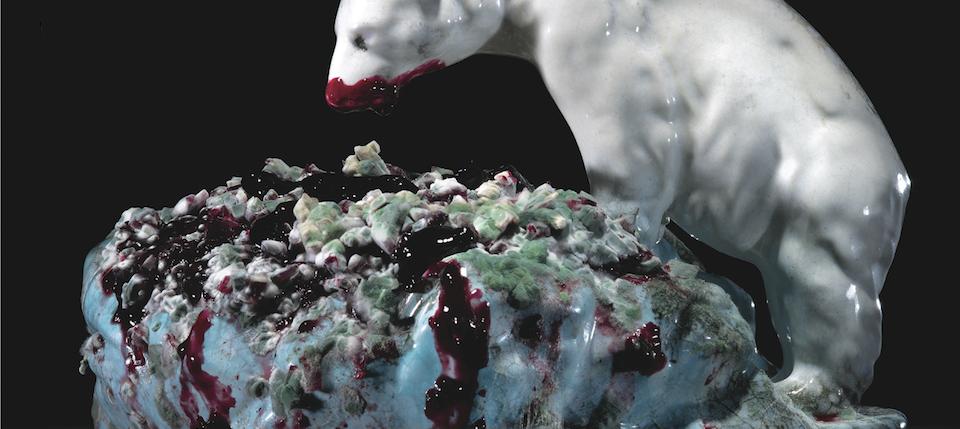 A ceramic bear feasting on mouldy jam cake. Klaus Pichler. A\J.