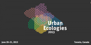 Urban Ecologies conference logo. OCAD. Alternatives Journal. A\J