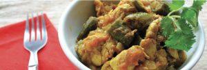 Curried chicken and okra recipe from The Stop. A\J.