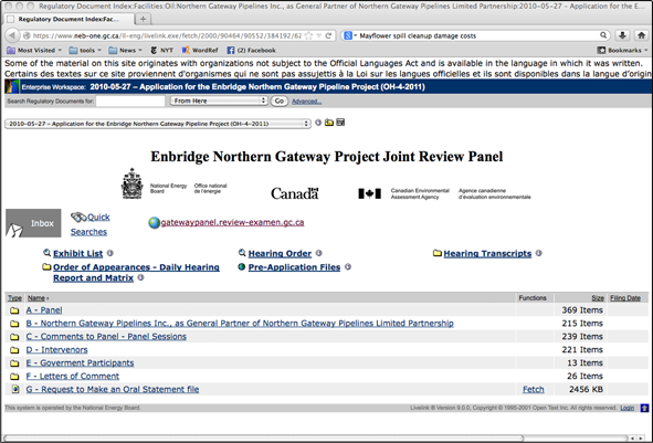 Screenshot of the online public record archive of the National Energy Board of Canada