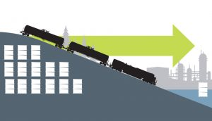 Graphic of oil barrels and a train going downhill - A\J AlternativesJournal.ca