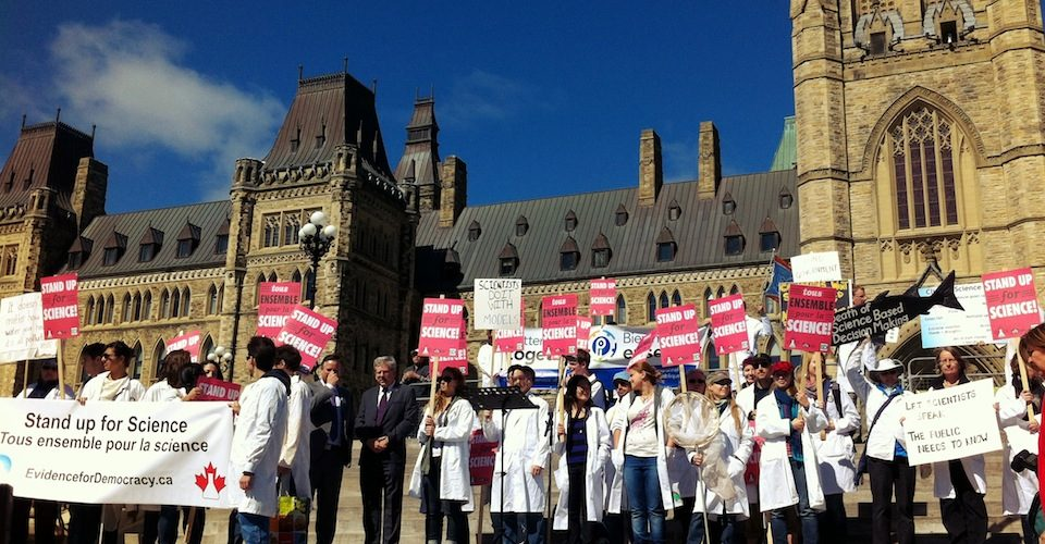 Scientists gathered on Parliament Hill for the Stand Up for Science! rally
