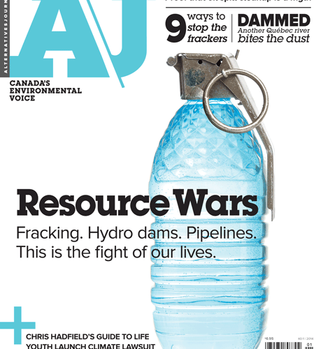 A\J Resource Wars issue cover. Water bottle grenade.