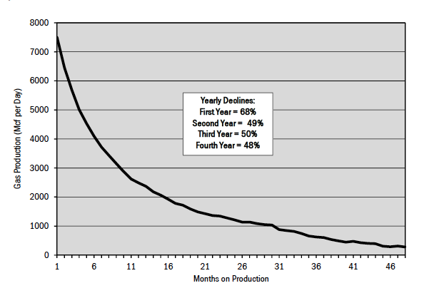 Figure 5. Typical decline rate for Haynesville shale gas wells.