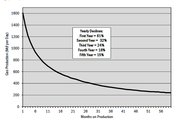 Figure 6. Typical decline rate for Barnett shale gas wells.
