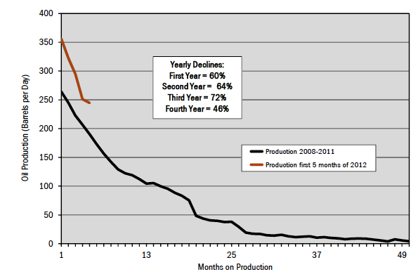 Figure 9. Typical decline rate for Eagle Ford tight oil wells.