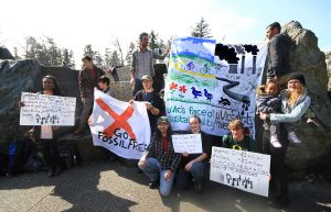 People from the University of Victoria promoting a divestment campaign