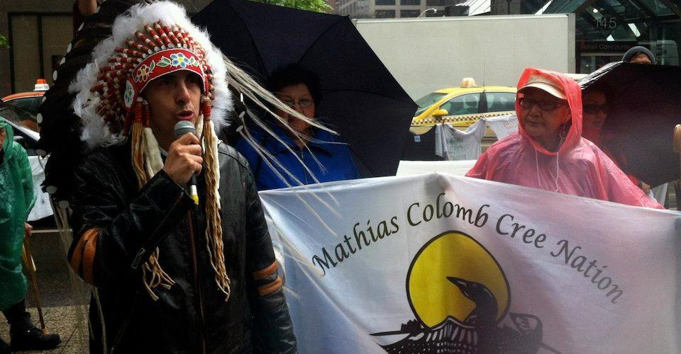 Chief Arlen Dumas, Mathias Colomb Cree Nation at a Hudbay Minerals protest.