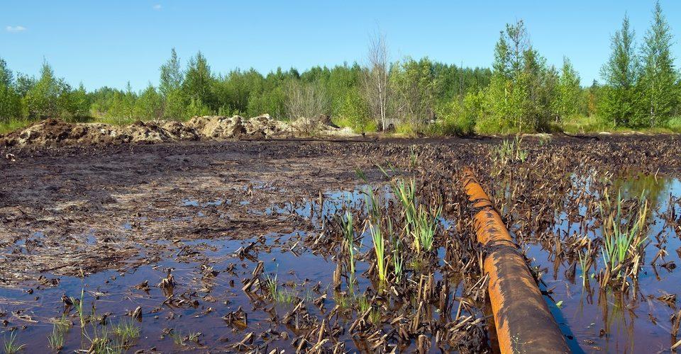 Pipeline oil spill.