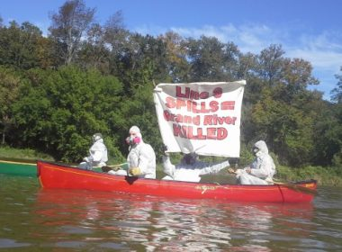 """The """"Climate Change Containment Unit"""" protesting Line 9 on the Grand River."""