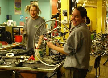 Sharing bike repair tools is part of the cycle at Recycle Cycles