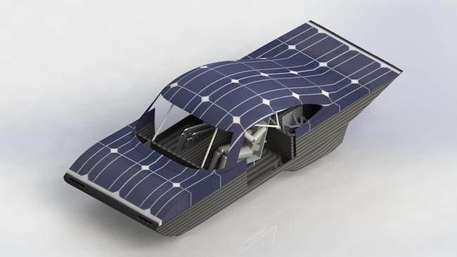 A rendering of the Midnight Sun XI solar race car