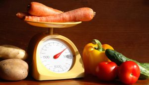 produce on a kitchen scale.