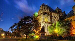 Queen's Park, ontario parliament building at night.