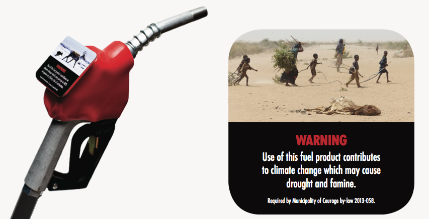 Our Horizon sample label for gas pump handle