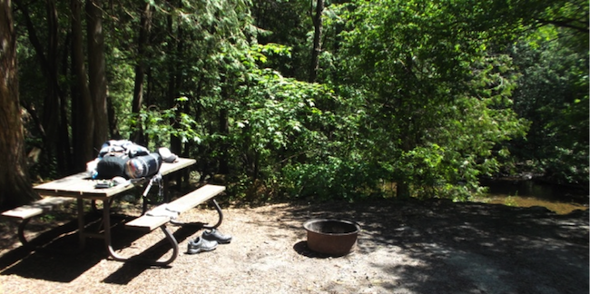 Campsite at Rockwood Conservation Area.