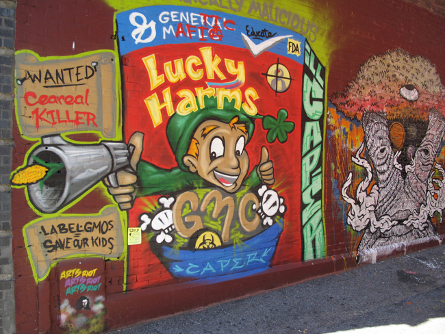 Lucky Harms made with real GMO. Vermont mural by Brian Clark.