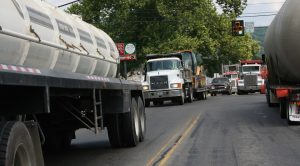 Heavy truck traffic in Towanda PA as a result of Marcellus Shale natural gas fra