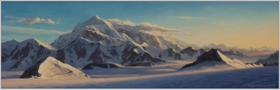 Cory Trépanier's original on-location painting of Mount Logan, BC