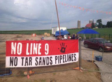 Line 9 construction blockade in Innerkip, Ontario