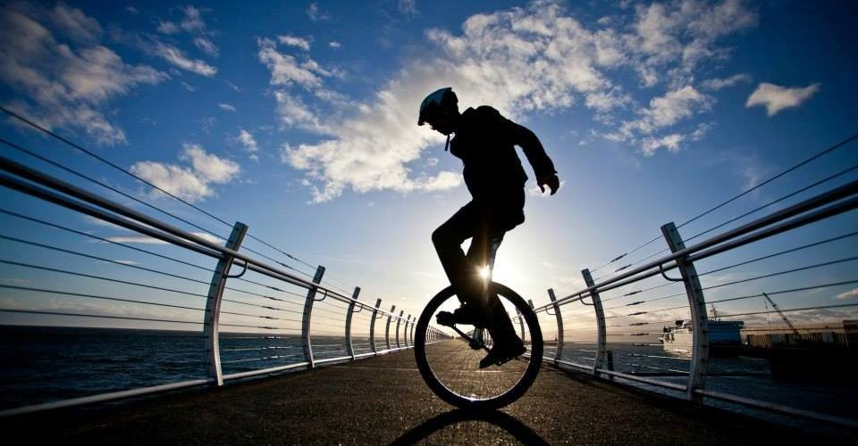 Joseph Boutilier on his unicycle