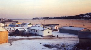 View of Makkovik and harbour at sunset