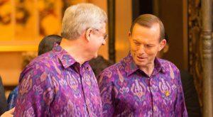 Canadian Prime Minister Stephen Harper and Australian Prime Minister Tony Abbott