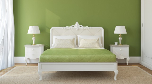 A green bed.