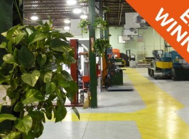 Green support beams at Ontario-based furniture manufacturer Calstone