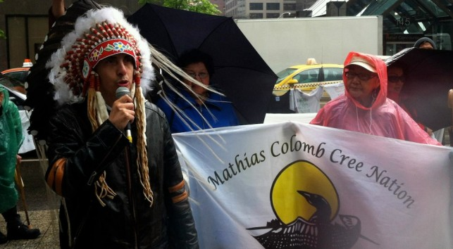 Chief Arlen Dumas of the Mathias Colomb Cree Nation speaks to a crowd gathered to confront Hudbay over its illegal operations on their territory and across Turtle Island.