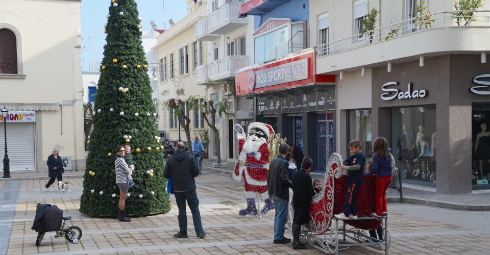 Santa and sleigh in a town square in Kos, Greece.