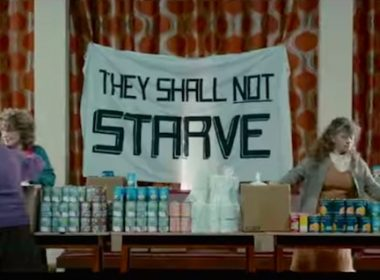"""Screencapture from Pride with """"They Shall Not Starve"""" banner."""
