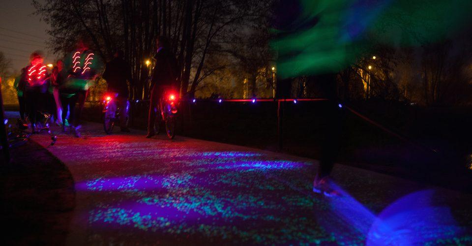 Starry Night-inspired bike path.