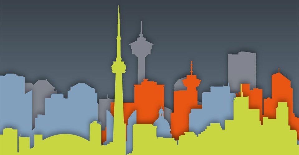 Canadian skylines. Illustration by nik harron.