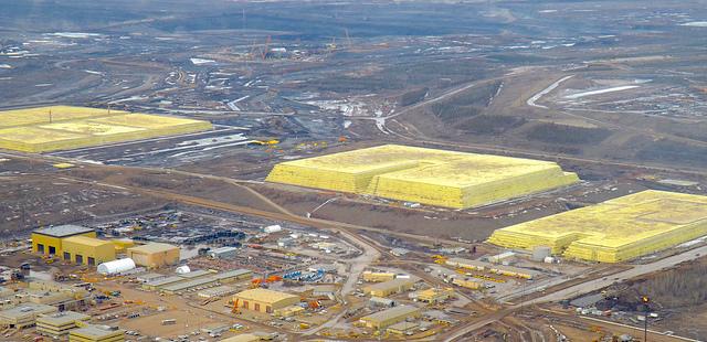Sulphur blocks at Syncrude base plant.