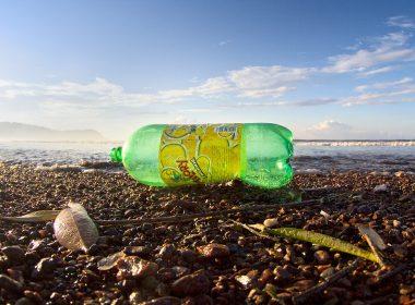 Plastic pop bottle on a beach in Costa Rica