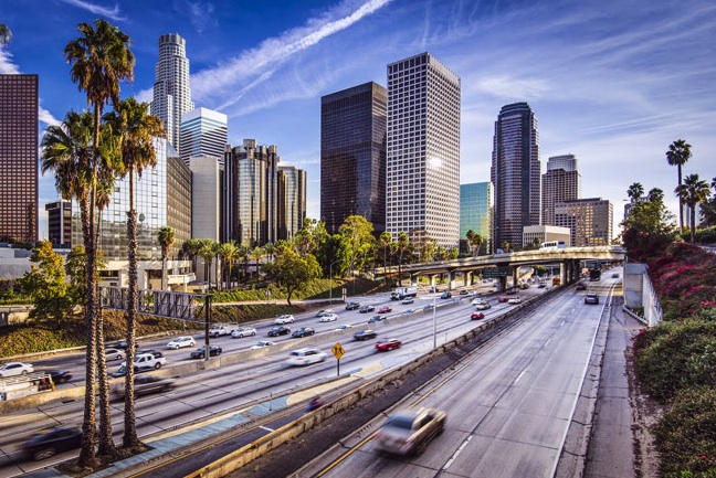 (Photo: a cityscape of downtown Los Angeles, California)