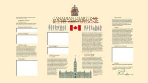 (Photo: A gutted charter of Canadian rights and freedoms)