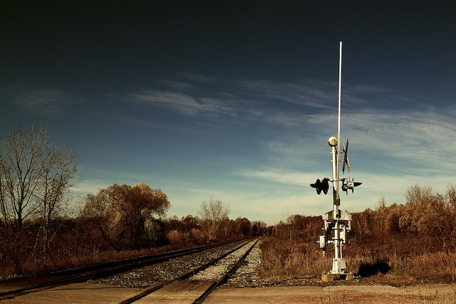 A railroad crossing in Rouge Park