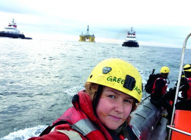 Emily Hunter, woman on a science boat on ocean