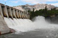 water rushing through a hydro-electric dam